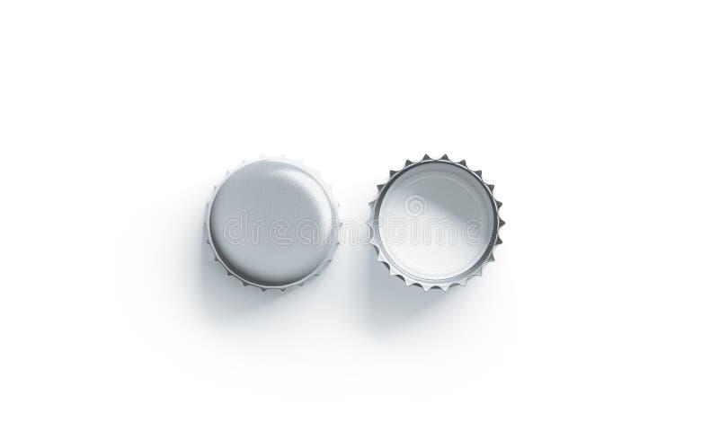 Κενή άσπρης ασημένιων προτύπων καπακιών μπύρας μπροστινής και πίσω πλευρά, στοκ εικόνα με δικαίωμα ελεύθερης χρήσης