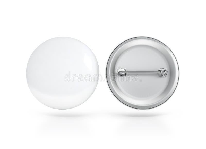 Κενή άσπρης προτύπων διακριτικών κουμπιών μπροστινής και πίσω πλευρά, πορεία ψαλιδίσματος στοκ φωτογραφία με δικαίωμα ελεύθερης χρήσης