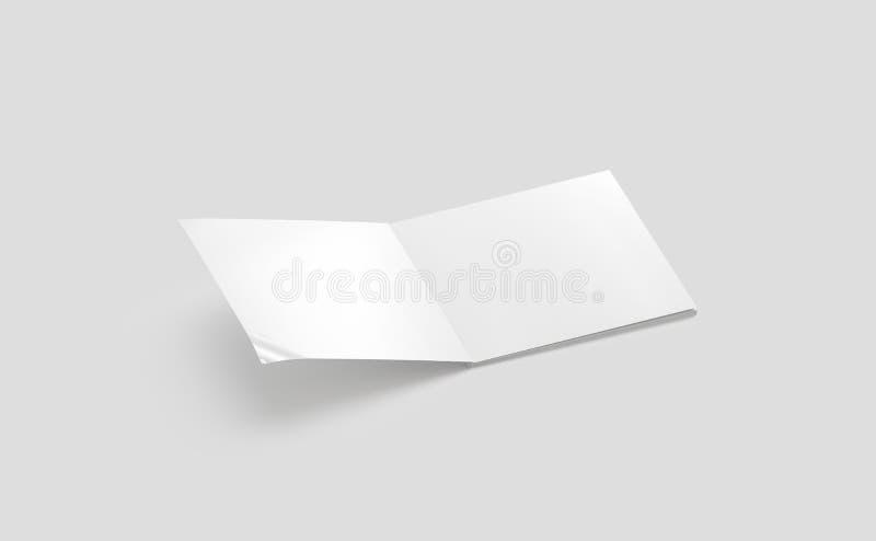 Κενή άσπρη ανοιγμένη τετραγωνική χλεύη περιοδικών επάνω, πλάγια όψη, ελεύθερη απεικόνιση δικαιώματος