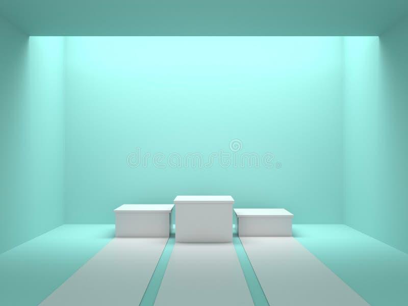 Κενή άσπρη εξέδρα νικητών στο πράσινο δωμάτιο χρώματος με το φως από το ανώτατο όριο τρισδιάστατη απόδοση απεικόνιση αποθεμάτων