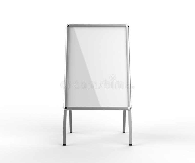 Κενή άσπρη μεταλλική υπαίθρια στάση διαφήμισης που απομονώνονται, σαφής χλεύη πινάκων συστημάτων σηματοδότησης οδών επάνω Με το π απεικόνιση αποθεμάτων