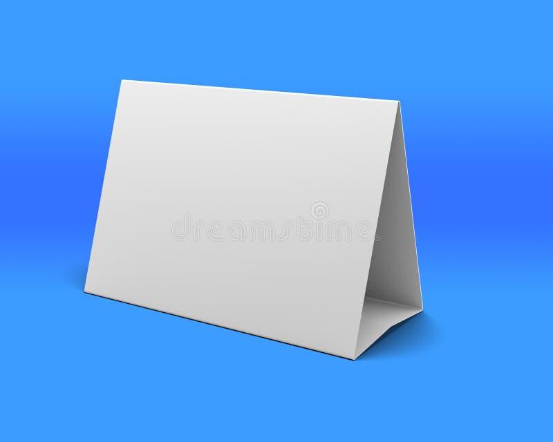 Κενή άσπρη παρουσίαση γραφείων στην μπλε ανασκόπηση απεικόνιση αποθεμάτων