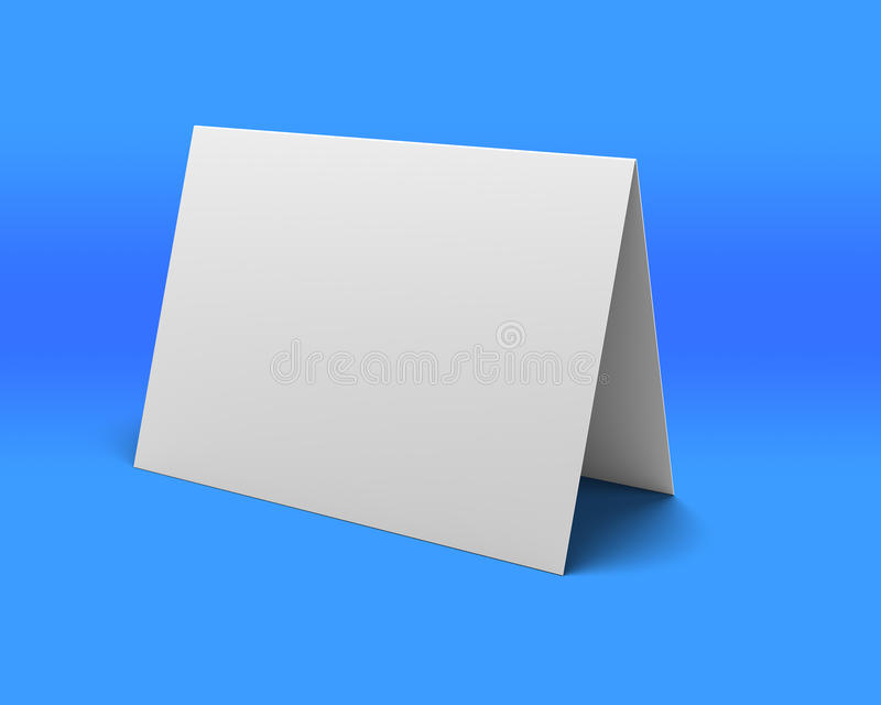 Κενή άσπρη παρουσίαση γραφείων στην μπλε ανασκόπηση διανυσματική απεικόνιση