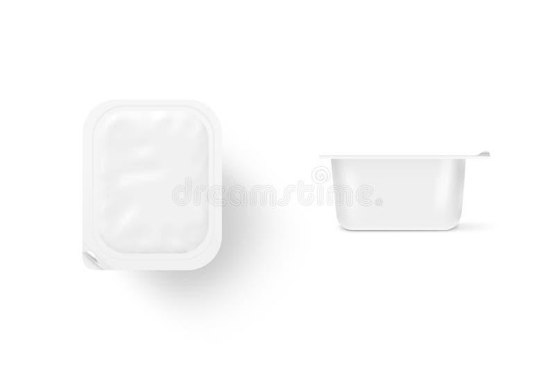 Κενή άσπρη πλαστή επάνω στάση κιβωτίων γεύματος που απομονώνεται Σαφές βάζο Sause moc στοκ φωτογραφία με δικαίωμα ελεύθερης χρήσης