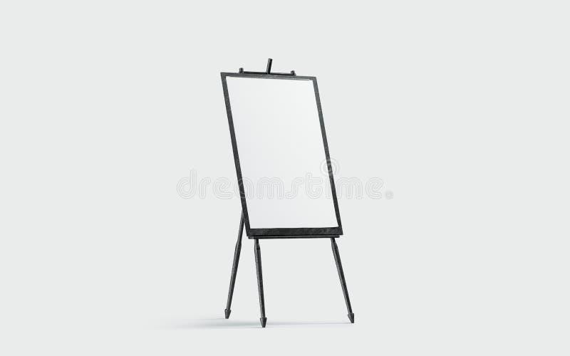 Κενή άσπρη στάση καμβά στο μαύρο easel πρότυπο, που απομονώνεται ελεύθερη απεικόνιση δικαιώματος