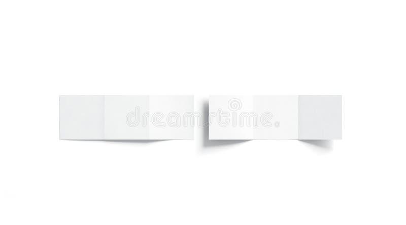 Κενή άσπρη χλεύη βιβλιάριων trifold επάνω, τοπ άποψη ελεύθερη απεικόνιση δικαιώματος