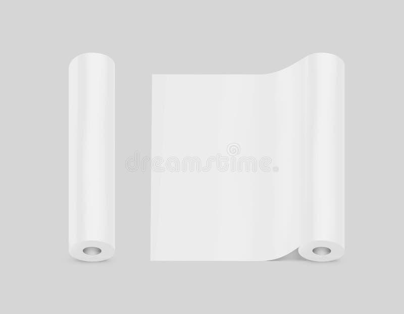 Κενή άσπρη χλεύη σχεδίου ρόλων ταπετσαριών επάνω, απομονωμένος, πορεία ψαλιδίσματος στοκ φωτογραφίες με δικαίωμα ελεύθερης χρήσης