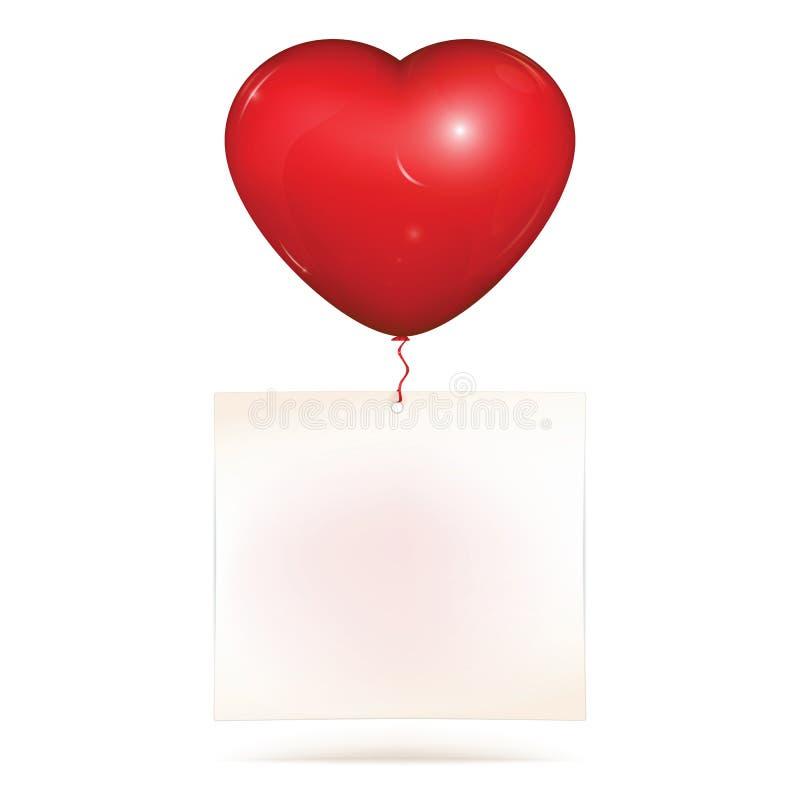 Κενή ένωση εγγράφου στο μπαλόνι καρδιών στοκ φωτογραφίες με δικαίωμα ελεύθερης χρήσης