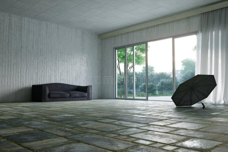 Κενή αίθουσα με τη φωτογραφία έννοιας άποψης φύσης καναπέδων και κήπων στοκ φωτογραφία