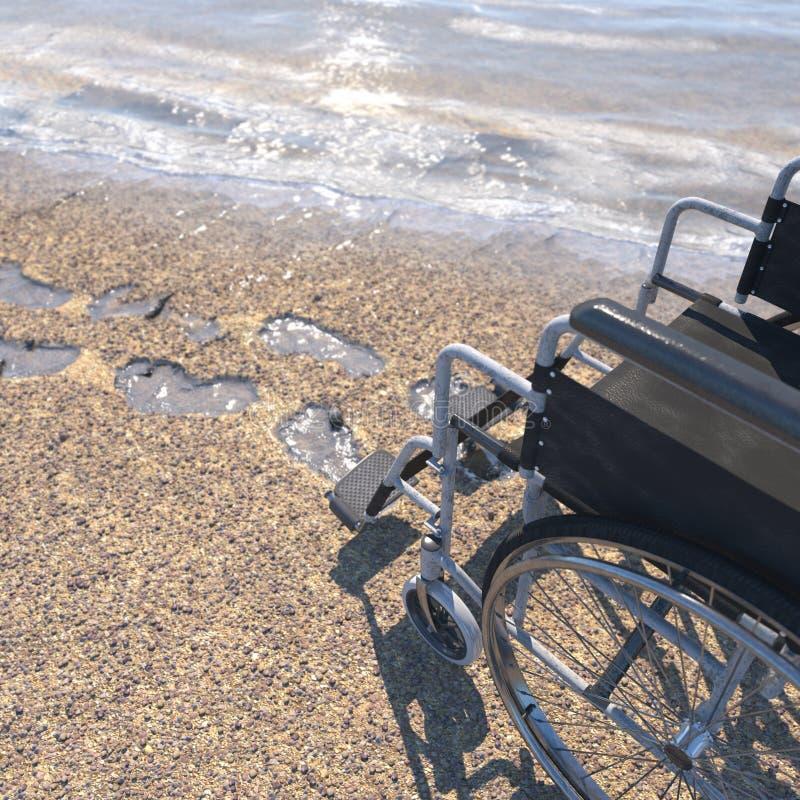 Κενή αναπηρική καρέκλα σε μια παραλία της άμμου με τα ίχνη στοκ εικόνες