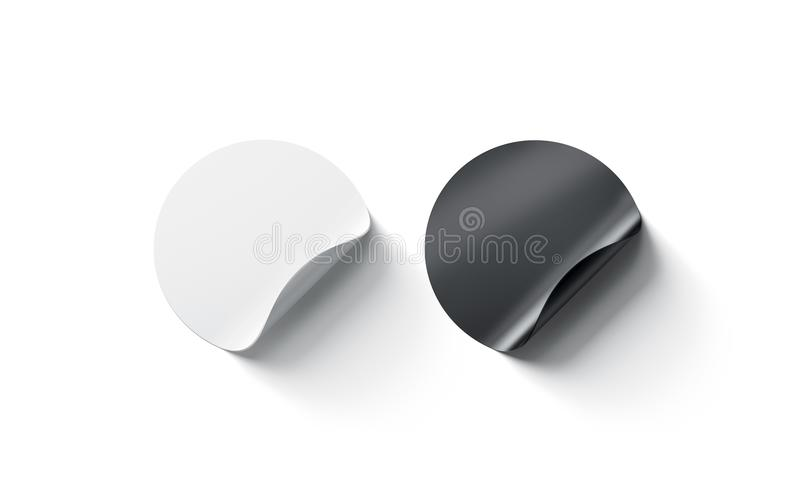 Κενή γραπτή στρογγυλή συγκολλητική καμμμένη πρότυπο γωνία αυτοκόλλητων ετικεττών στοκ φωτογραφία με δικαίωμα ελεύθερης χρήσης