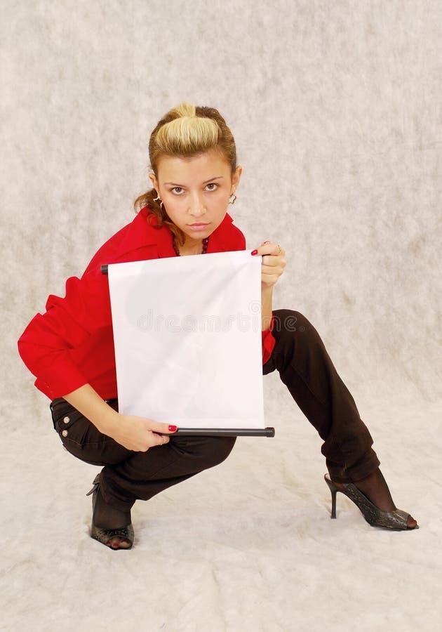 κενή γυναίκα σημαδιών εκμ&ep στοκ φωτογραφία με δικαίωμα ελεύθερης χρήσης