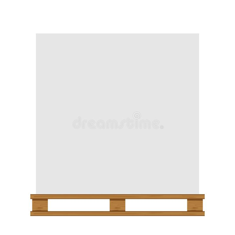 Κενή δασώδης παλέτα που απομονώνεται στο άσπρο ξύλο παλετών υποβάθρου διανυσματική απεικόνιση