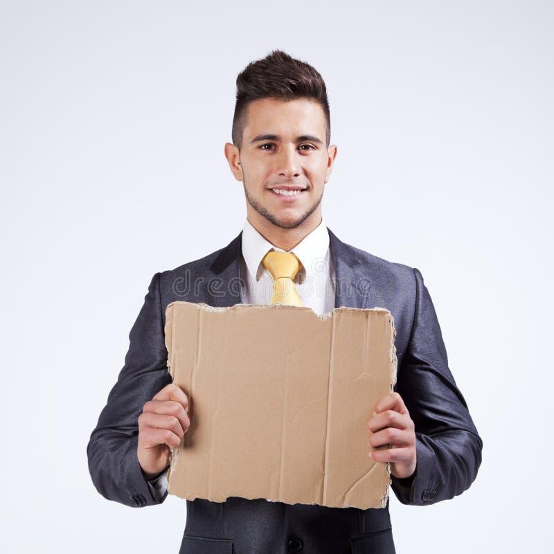 κενή εκμετάλλευση χαρτονιού επιχειρηματιών στοκ φωτογραφία με δικαίωμα ελεύθερης χρήσης