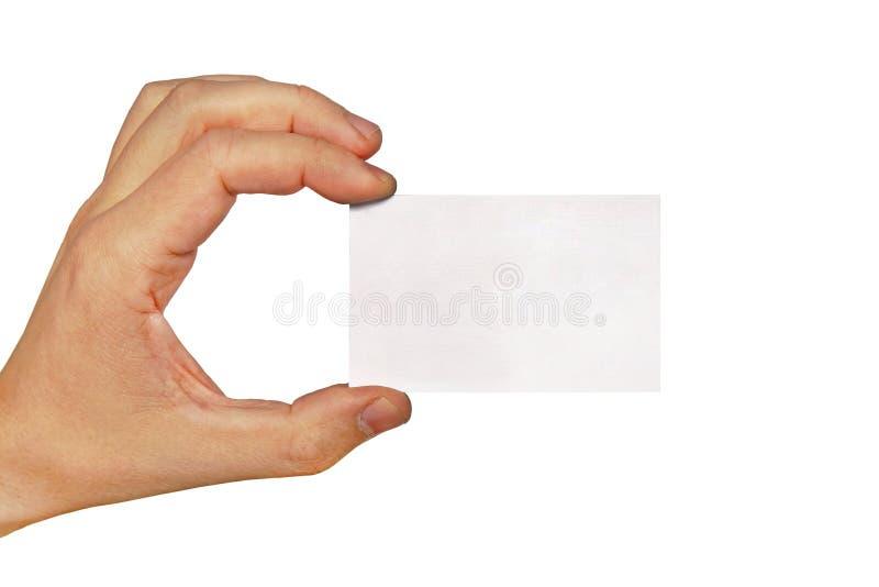 Κενή επαγγελματική κάρτα εγγράφου εκμετάλλευσης χεριών επιχειρηματία, κινηματογράφηση σε πρώτο πλάνο που απομονώνεται στο άσπρο υ στοκ εικόνες