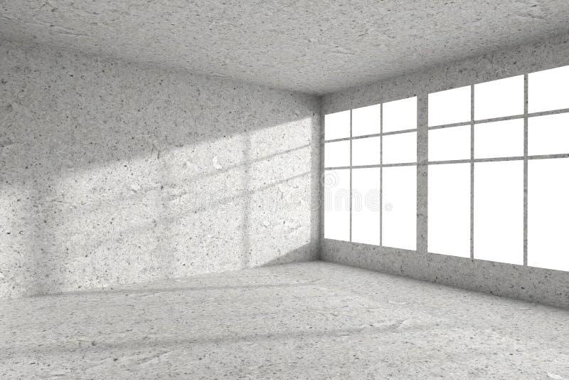 Κενή επισημασμένη συγκεκριμένη γωνία δωματίων με το εσωτερικό παραθύρων διανυσματική απεικόνιση