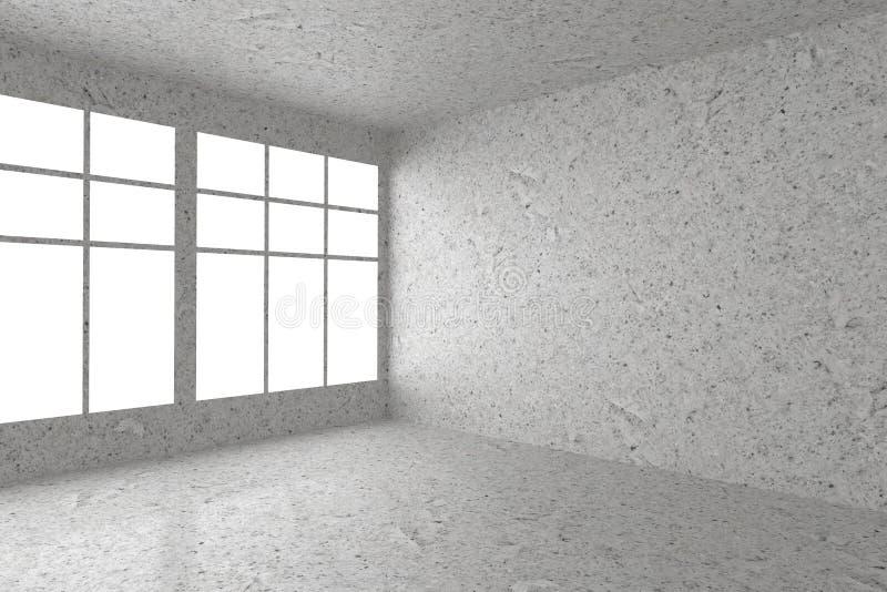 Κενή επισημασμένη συγκεκριμένη γωνία δωματίων με το εσωτερικό παραθύρων ελεύθερη απεικόνιση δικαιώματος