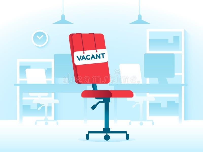 Κενή εργασία θέσης στο δημιουργικό γραφείο Μίσθωση επιχειρησιακού κενού και προσδιορισμός θέσης εργασίας Διανυσματική έννοια κενώ ελεύθερη απεικόνιση δικαιώματος