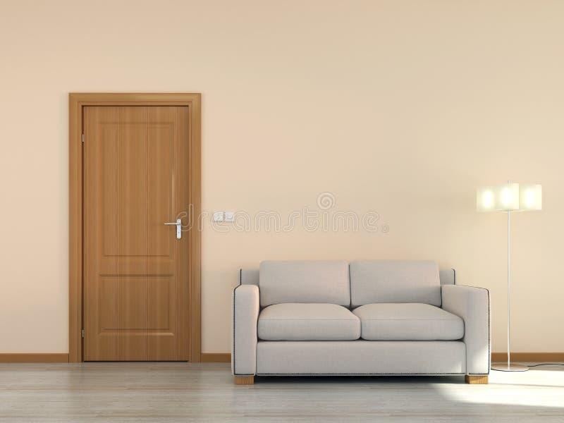 Κενή εσωτερική σκηνή με τον καναπέ και την πόρτα ελεύθερη απεικόνιση δικαιώματος