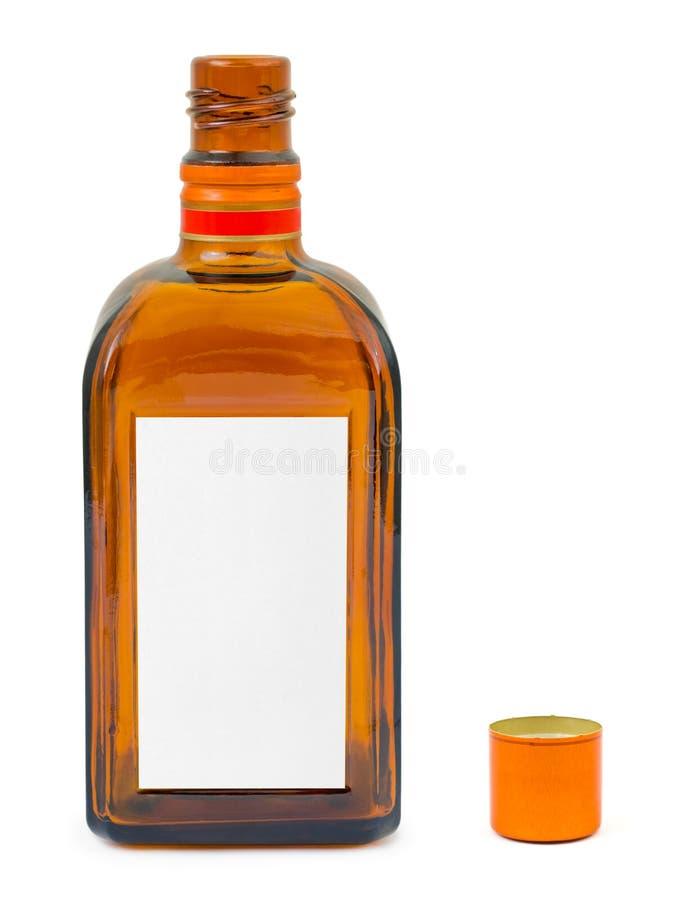 κενή ετικέτα μπουκαλιών π&om στοκ φωτογραφία