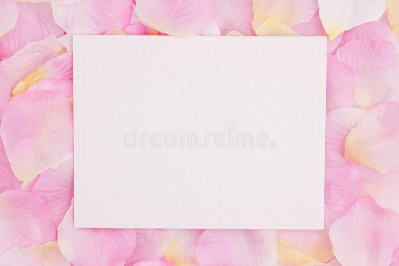 Κενή ευχετήρια κάρτα αγάπης στα ρόδινα ροδαλά πέταλα λουλουδιών στοκ φωτογραφία με δικαίωμα ελεύθερης χρήσης