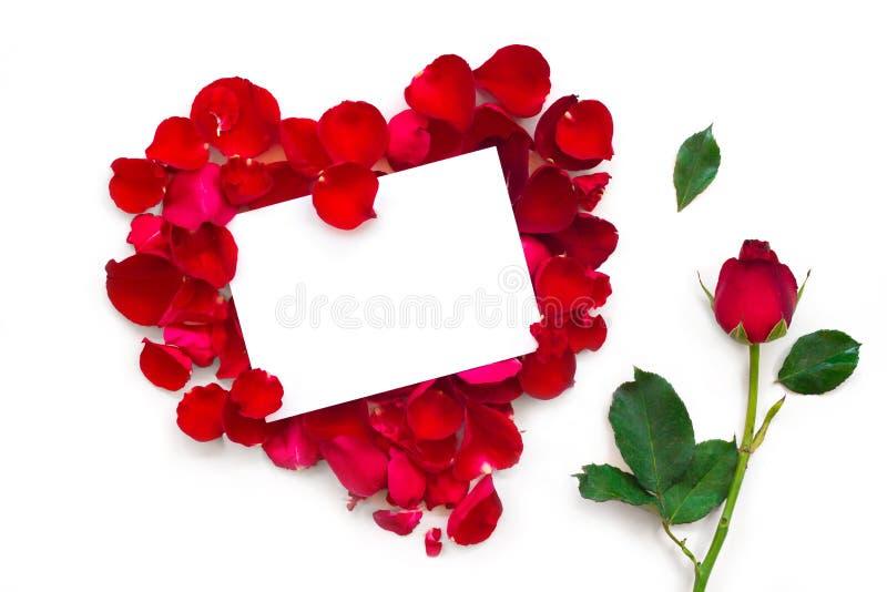 Κενή κάρτα δώρων στη μορφή καρδιών των κόκκινων ροδαλών πετάλων στοκ φωτογραφία με δικαίωμα ελεύθερης χρήσης