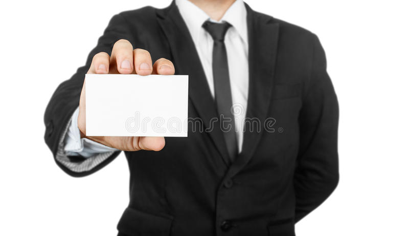 Κενή κάρτα επίσκεψης εκμετάλλευσης επιχειρηματιών στοκ εικόνες
