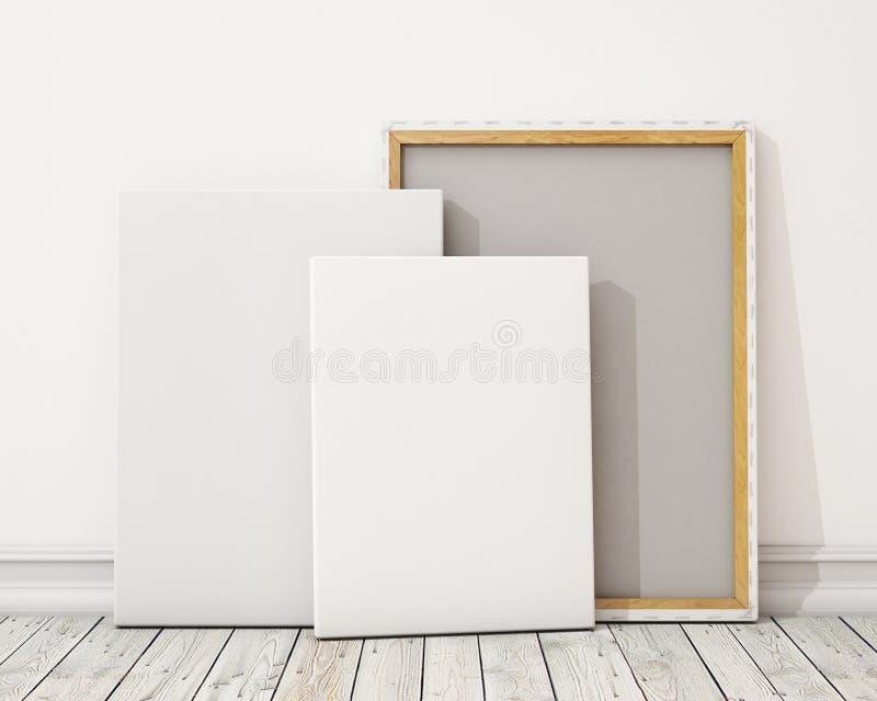 Κενή καμβάς ή αφίσα με το σωρό του καμβά στο πάτωμα και τον τοίχο, υπόβαθρο απεικόνιση αποθεμάτων