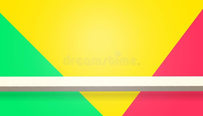 Κενή κορυφή του ξύλινου πίνακα ή του μετρητή που απομονώνεται στο ζωηρόχρωμο υπόβαθρο διανυσματική απεικόνιση