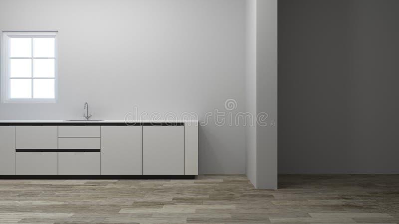 Κενή κουζίνα που περιμένει το τρισδιάστατο σπίτι απεικόνισης διακοσμήσεων, εσωτερικό, υπόβαθρο διανυσματική απεικόνιση