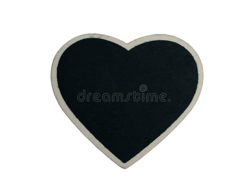 Κενή μαύρη ξύλινη καρδιά που απομονώνεται στο άσπρο υπόβαθρο με το ψαλίδισμα των πορειών στοκ φωτογραφία με δικαίωμα ελεύθερης χρήσης