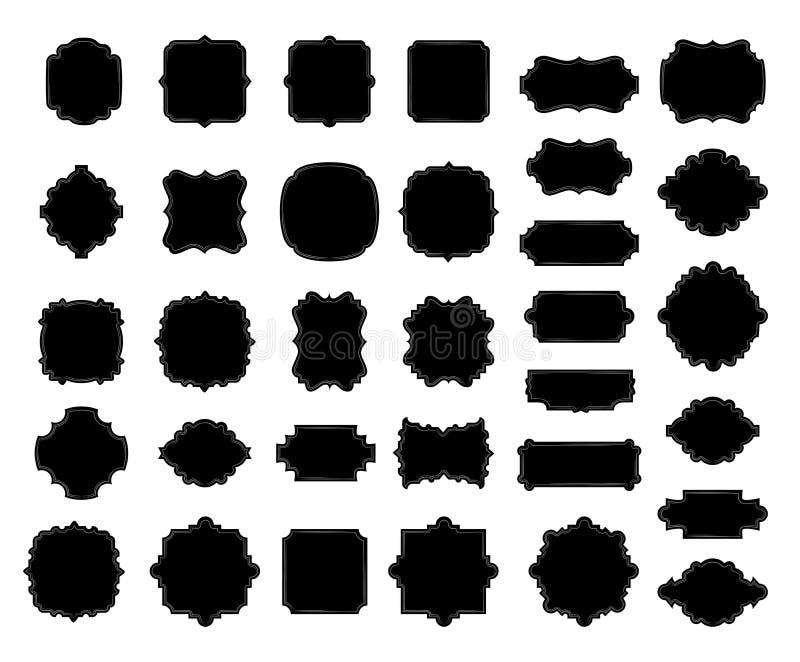 Κενή μαύρη συλλογή συνόρων και πλαισίων, κομψό διακοσμητικό ορμούμενο σημάδι σύντομων χρονογραφημάτων, handdrawn oval ελεύθερη απεικόνιση δικαιώματος