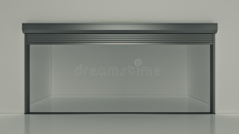 Κενή μονάδα αποθήκευσης ανοιχτών πορτών μόνη τρισδιάστατη απόδοση ελεύθερη απεικόνιση δικαιώματος