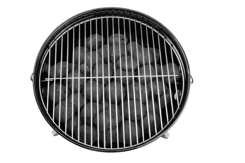 Κενή νέα καθαρή BBQ σχάρα κατσαρολών με τις ανθρακόπλινθους Isolat ξυλάνθρακα στοκ εικόνα με δικαίωμα ελεύθερης χρήσης
