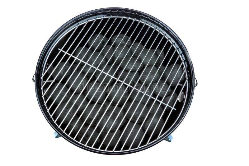 Κενή νέα καθαρή BBQ σχάρα κατσαρολών με τις ανθρακόπλινθους Isolat ξυλάνθρακα στοκ εικόνες