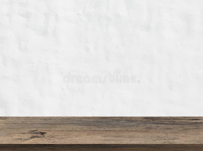 Κενή ξύλινη επιτραπέζια κορυφή και άσπρο υπόβαθρο σύστασης τοίχων Για το MO στοκ εικόνες με δικαίωμα ελεύθερης χρήσης