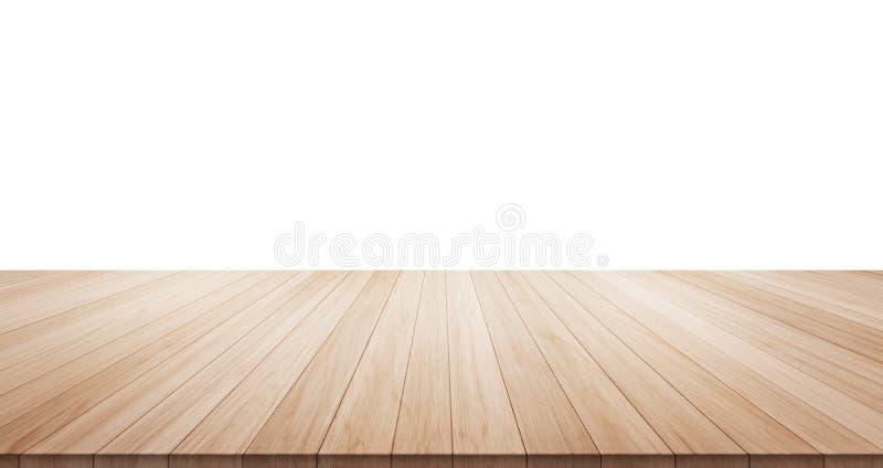 Κενή ξύλινη επιτραπέζια κορυφή που απομονώνεται στο άσπρο υπόβαθρο στοκ φωτογραφία με δικαίωμα ελεύθερης χρήσης