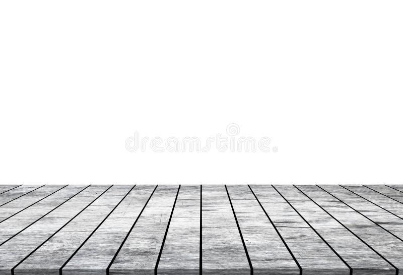 Κενή ξύλινη επιτραπέζια κορυφή που απομονώνεται στο άσπρο υπόβαθρο στοκ εικόνα