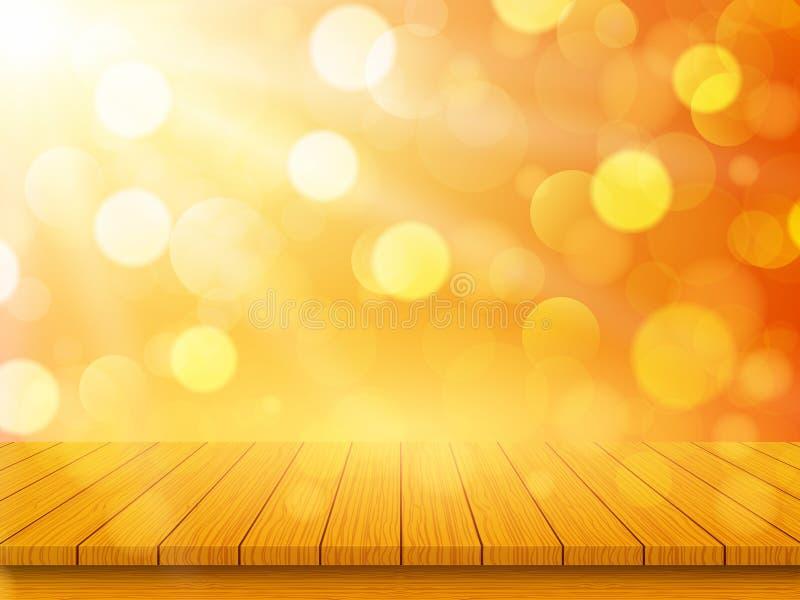 Κενή ξύλινη επιτραπέζια κορυφή στο θολωμένο αφηρημένο πορτοκαλί υπόβαθρο με το bokeh Έννοια φθινοπώρου r διανυσματική απεικόνιση