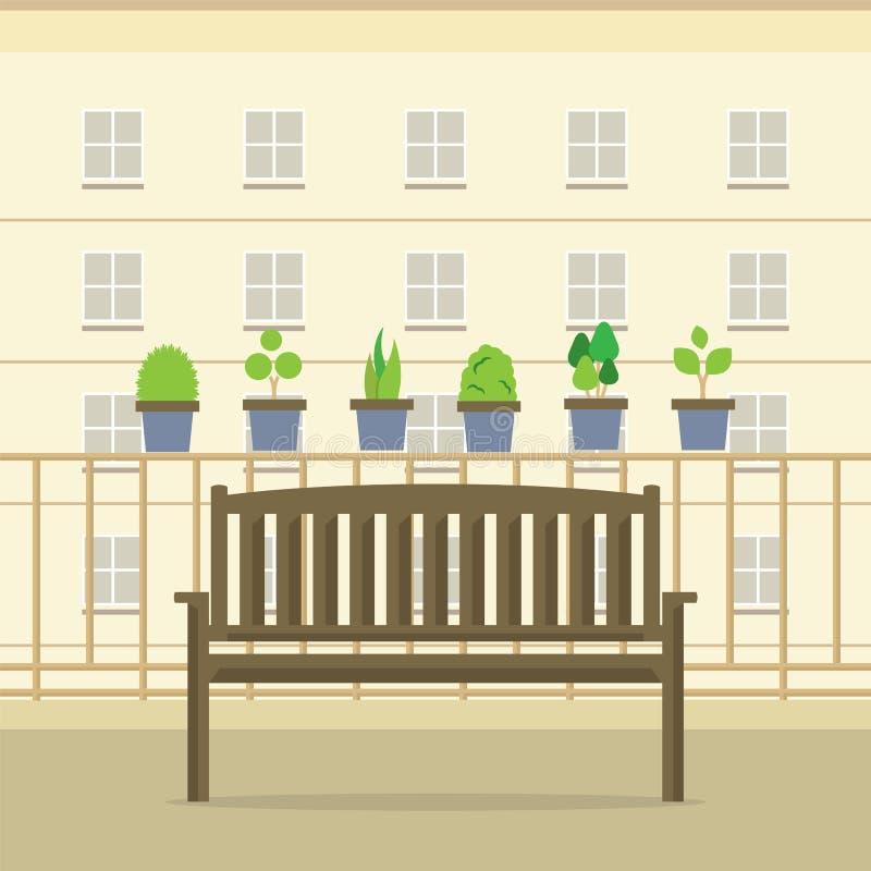 Κενή ξύλινη έδρα πάρκων στο μπαλκόνι διανυσματική απεικόνιση