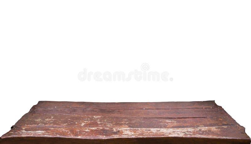 Κενή παλαιά καφετιά ξύλινη επιτραπέζια κορυφή που απομονώνεται στο άσπρο υπόβαθρο, που χρησιμοποιείται για την επίδειξη ή το mont στοκ φωτογραφία