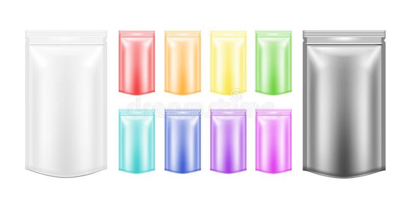 Κενή πλαστική συσκευασία λευκού και χρώματος με το φερμουάρ Κενό φύλλο αλουμινίου διανυσματική απεικόνιση