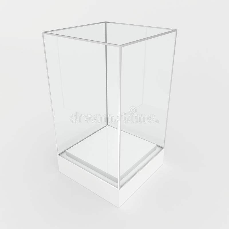 Κενή προθήκη γυαλιού για το έκθεμα Γκρίζα ανασκόπηση απεικόνιση αποθεμάτων