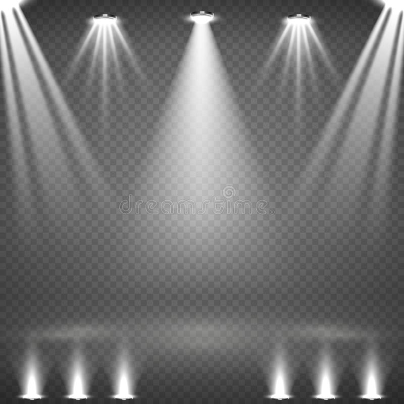 Κενή σκηνή με την καμμένος άσπρη διανυσματική απεικόνιση επικέντρων ελεύθερη απεικόνιση δικαιώματος