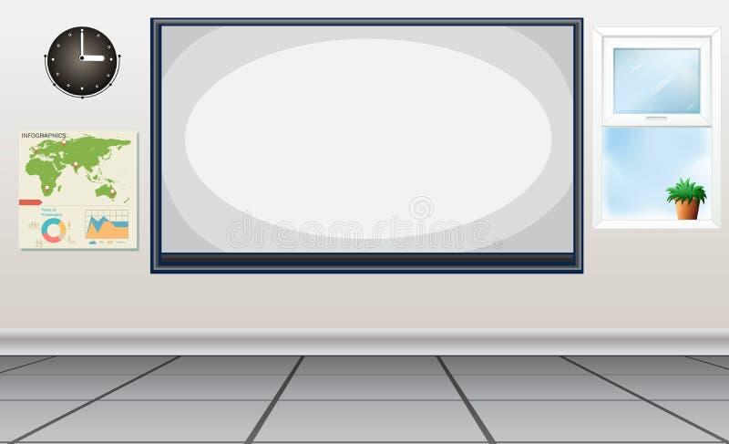 Κενή τάξη με το whiteboard διανυσματική απεικόνιση