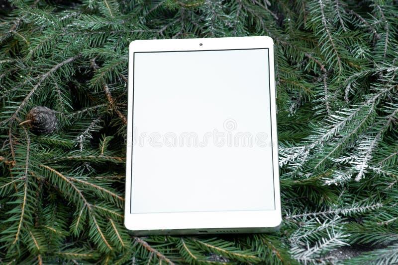 Κενή ταμπλέτα στους κλάδους χριστουγεννιάτικων δέντρων Νέο δώρο έτους πολυτέλειας Δώρο Χριστουγέννων στοκ εικόνα με δικαίωμα ελεύθερης χρήσης
