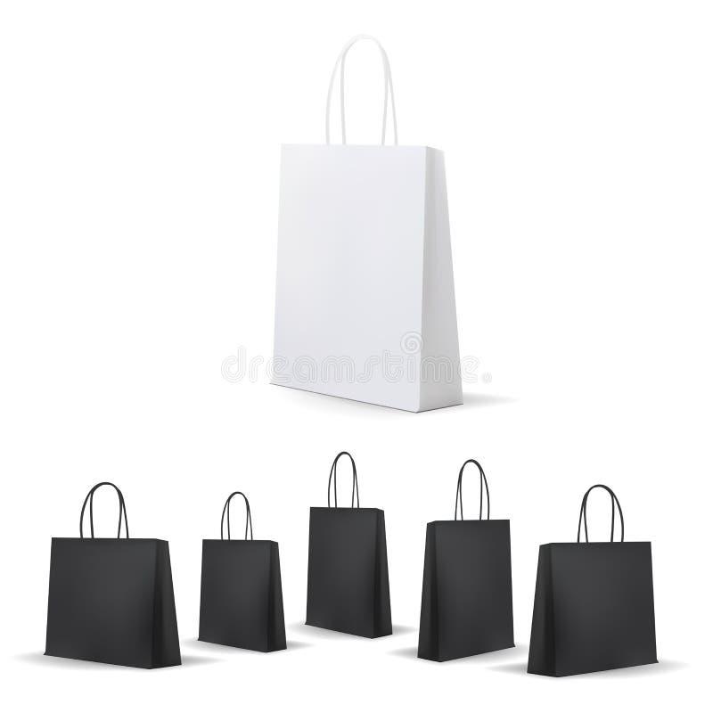 Κενή τσάντα αγορών λευκιά και ο Μαύρος που τίθεται για τη διαφήμιση και το μαρκάρισμα ελεύθερη απεικόνιση δικαιώματος