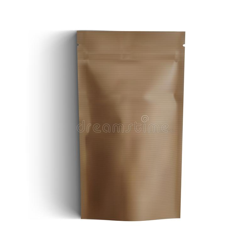 Κενή τσάντα εγγράφου χαρτονιού τεχνών πολυτέλειας καφετιά για το μαρκάρισμα διανυσματική απεικόνιση