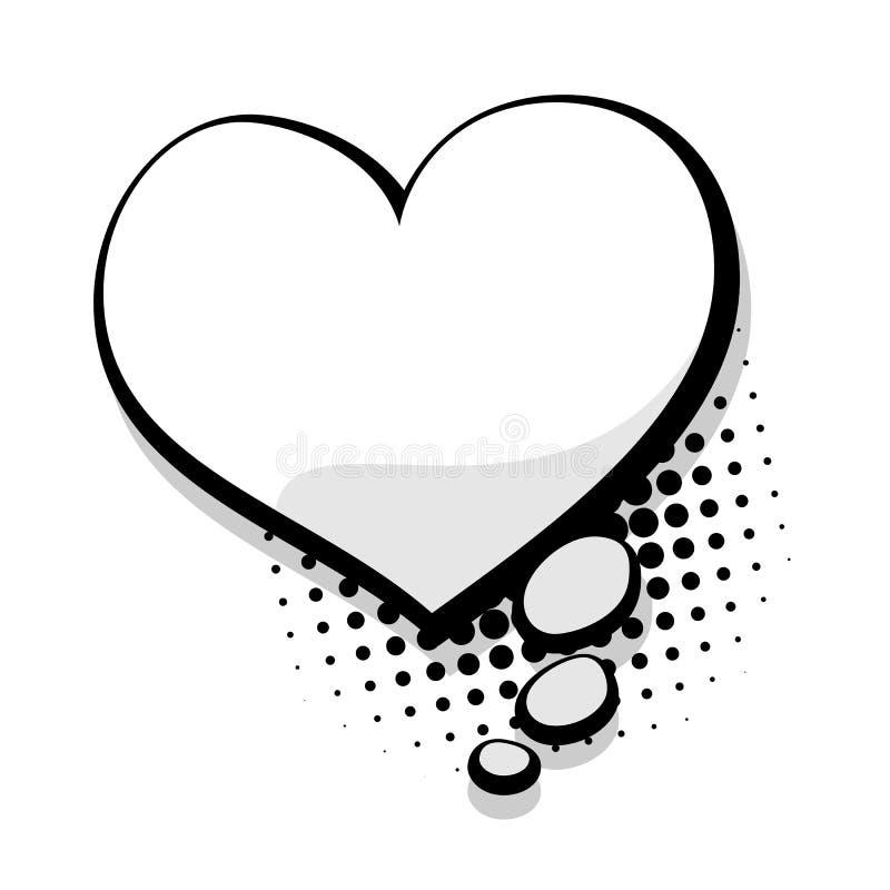 Κενή φυσαλίδα λεκτικών καρδιών προτύπων κωμική ελεύθερη απεικόνιση δικαιώματος