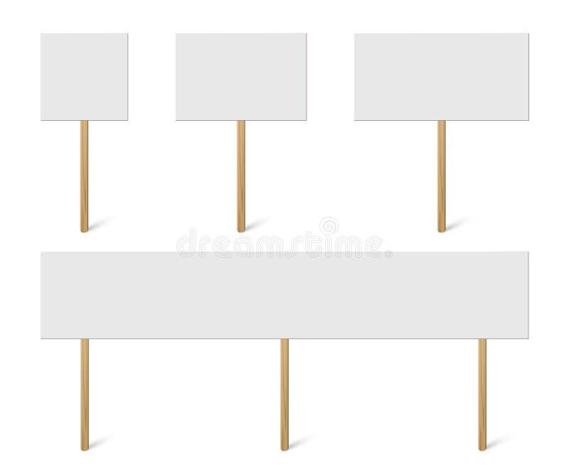 Κενή χλεύη εμβλημάτων επάνω στην ξύλινη συλλογή ραβδιών Διανυσματικό κενό διαφορετικό σύνολο κατόχων σανίδων πινάκων Σημάδια διαμ ελεύθερη απεικόνιση δικαιώματος